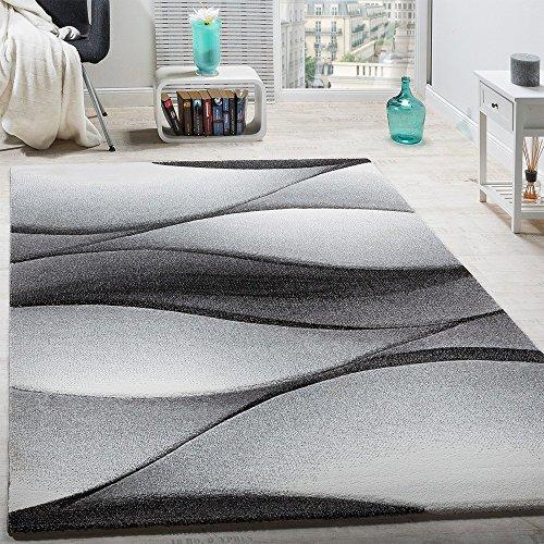 Paco Home Tappeto di Design Moderno Astratto Effetto A Onde Taglio Sagomato in Grigio Antracite, Dimensione:120x170 cm