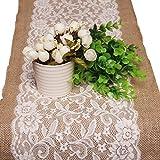 Di Grazia 100% Burlap Linen Short Table Runner with Lace (30*108 cms)