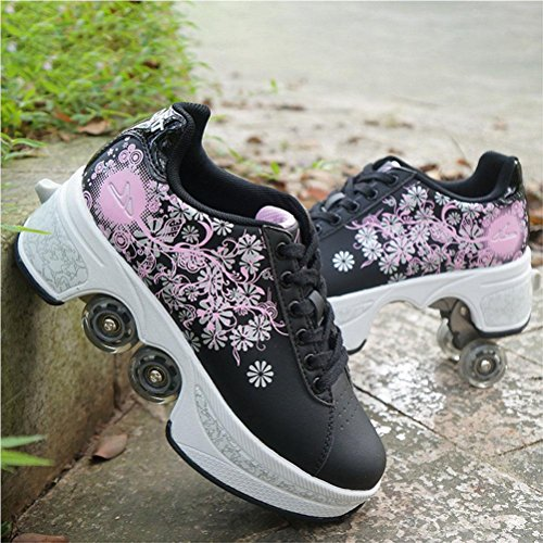 Multifunktionale Deformation Schuhe Quad Skate Rollschuhe Skating Outdoor Sportschuhe für Erwachsene , black , 39
