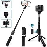 SYOSIN Perche Selfie, 4 en 1 Bluetooth Selfie Stick Trépied avec Télécommande, Monopode et Support Téléphone pour Gopro/DSLR/Smartphones etc (Offre Un Support de Montage de caméra 1/4'')