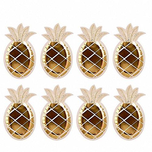 TOOGOO 16PZ piatti di ananas stagnola oro Set di stoviglie monouso piatti di carta per forniture per feste hawaiane