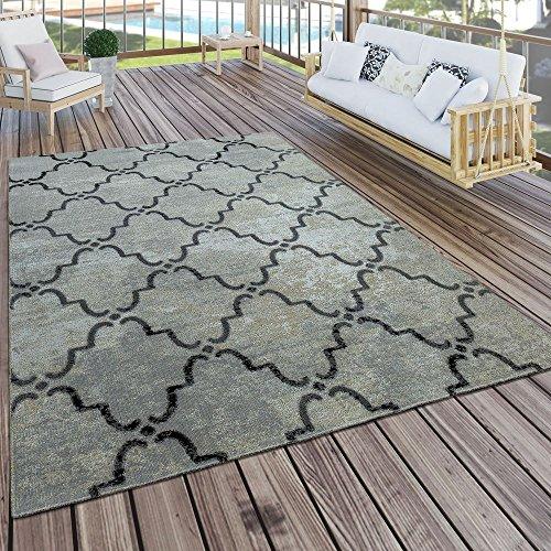 Paco Home In- & Outdoor Terrassen Teppich Modern Morokkanisches Muster Vintage Optik Grau, Grösse:200x280 cm (Outdoor-optik)