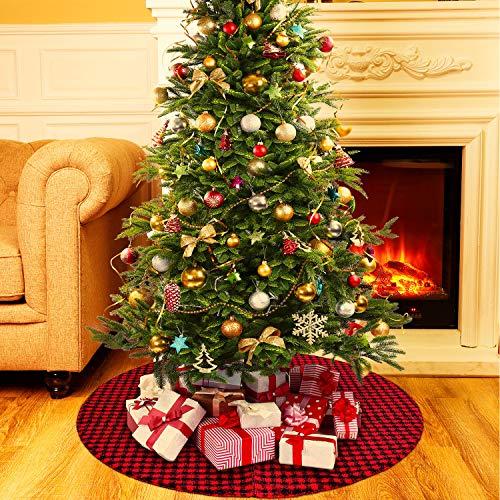 36 Zoll Plaid Weihnachtsbaum Rock mit Roten und Schwarzen Büffel Prüfen Baum Rock Ornament Doppelschichten für Weihnachtsfeiertag Dekoration