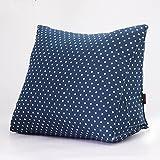 Kenmont Luxus Lendenkissen |Lesekissen|Rückenkissen|Bücherkissen|Fernsehkissen| Bedrest Weich Plüsch Kissen für Auto, Bett, Büro-Stuhl und Sofa, Ergokissen (Navy Blue Dots)