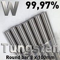 Tungsteno Varilla 8 x 100 mm, W 99,97%, Varilla redonda, ánodo, material redondo, electrodo