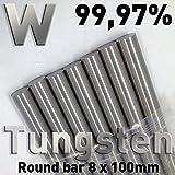 Tungsteno - Aste di metallo puro, 8 x 100 mm, elemento chimico #74, per l'analisi comparativa delle proprietà dei materiali, campioni di riferimento, test dei materiali