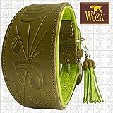 Woza Premium WINDHUND Halsband 6,3/47CM PRÄGUNG Picasso Vollleder Olive GRÜN Rindleder Nappa Apfel GRÜN Handmade Greyhound Collar
