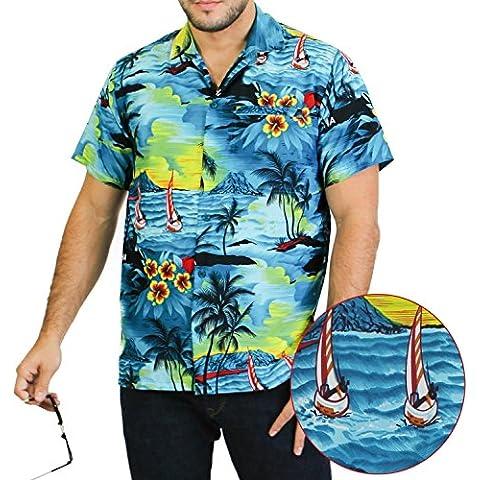 LA LEELA Shirt camisa hawaiana Hombre XS - 5XL Manga corta Delante de bolsillo Impresión hawaiana casual Regular Fit Camisa de Hawaii Azul Del Trullo
