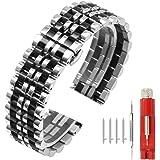 Cinturino flessibile per orologio, in acciaio inox lucido, 7 file, 20 o 22 mm, sgancio rapido