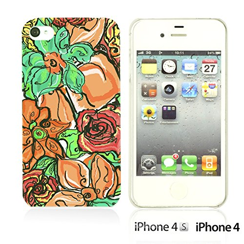 OBiDi - Flower Pattern Hardback Case / Housse pour Apple iPhone 4S / Apple iPhone 4 - Colorful Floral Art Paint Colorful Floral Oil Painting