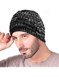 Knotyy Beanie Caps, Woolen Caps, Knitted Slouchy Caps, Skull Cap for Men & Women (Smudgy-Black)