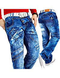 44cde3b3d8cd Kosmo Lupo Herren Jeans Freizeit Streetwear Urban Style Denim Black