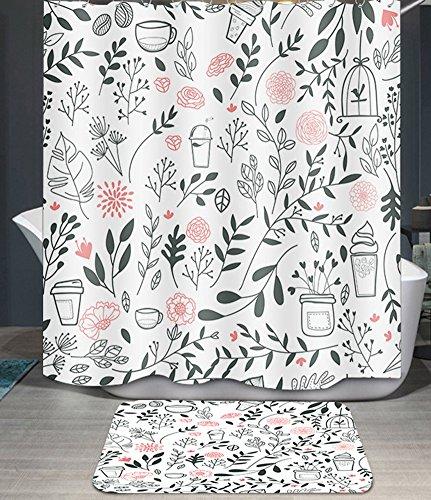 Ommda Duschvorhang Textil Wasserdicht Duschvorhang Anti-schimmel Pflanzen Digitaldruck Waschbar mit 12 Duschvorhang Ring 180x220cm(Keine Matten) Topfpflanzen (Kunststoff-octopus Schimmel)