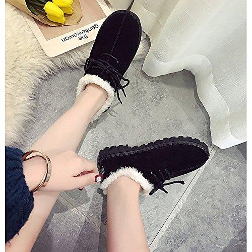 Boots stivali Snow tacco per Gray donna Grigio Cashmere marrone Scarpe piatto tonda Casual Nero punta HSXZ Winter xwTnHXYI0