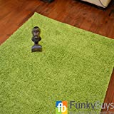 "FunkyBuys® Shaggy Rug Plain 5cm Thick Soft Pile Modern 100% Berclon Twist Fibre Non-Shed Polyproylene Heat Set - AVAILABLE IN 6 SIZES Best Quality On Amazon (Lime Green, 80cm x 150cm (2ft 6"" x 5ft 0""))"