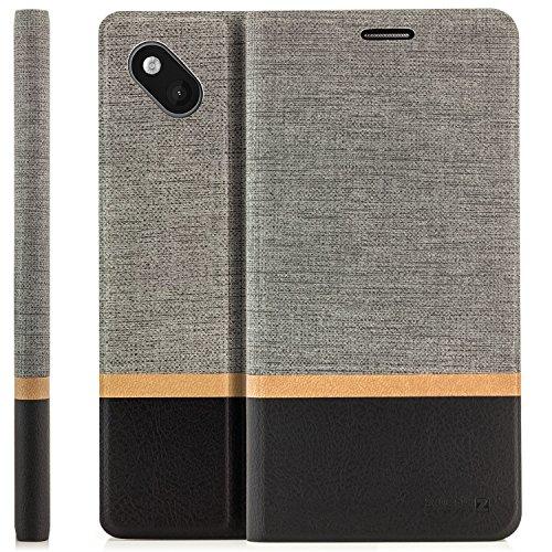 zanasta Tasche kompatibel mit Wiko Sunset 2 Hülle Flip Case Schutzhülle Handytasche mit Kartenfach Grau