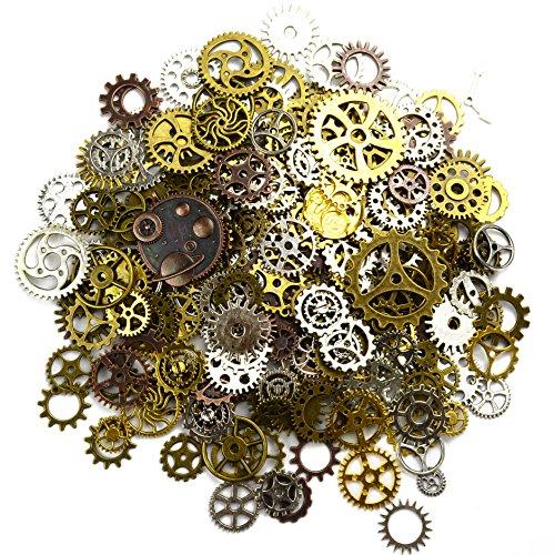 150 Gramm Bunt Sortierte Vintage Metall Steampunk Schmuck Machen Charms Cog Watch Wheel zum Crafting, Cosplay Halloween Dekoration
