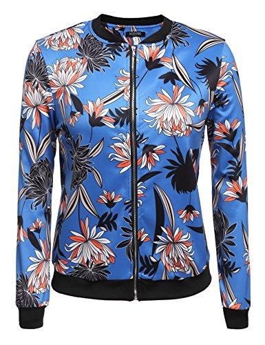 ZEARO Bomberjacke Damen Jacke Pilotenjackel Bikerjacke Retro Fliegerjacke Daunenjacke Blumen Druck Blazer Blau