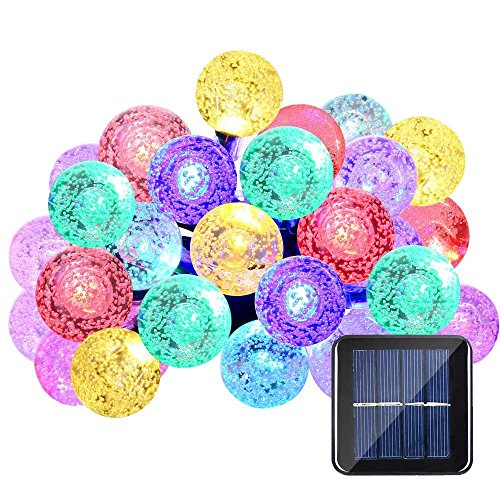 Qedertek Solar String Lights 20ft 30 LED 8 Lighting Modes Crystal Ball Waterproof Outdoor String Lights Solar Powered Globe Fairy String Lights for Outside Garden, Yard, Home, Landscape, Party (Multicolor)