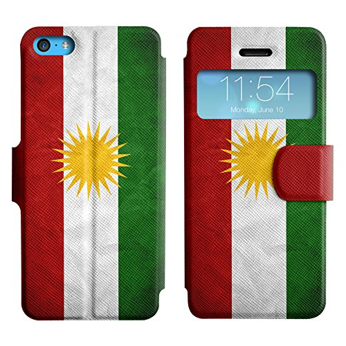 Graphic4You Vintage Uralt Flagge Von Kurdistan Kurdisch Design Leder Schützende Display-Klappe Brieftasche Hülle Case Tasche Schutzhülle für Apple iPhone 5C Kurdistan Kurdisch