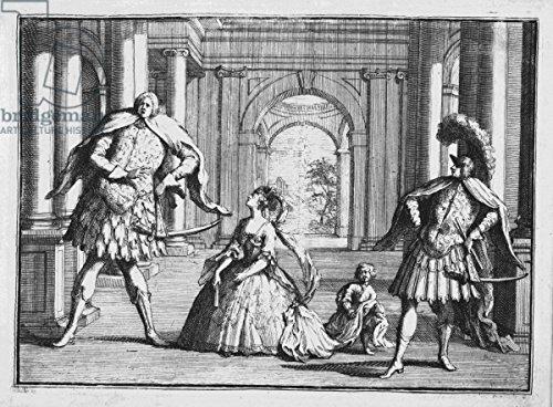 "Leinwand-Bild 70 x 50 cm: ""Farinelli, Cuzzoni and Senesino in Handels Flavio, c.1728 (etching)"", Bild auf Leinwand"