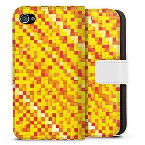 Apple iPhone X Silikon Hülle Case Schutzhülle Muster Pixel Rauten Sideflip Tasche weiß