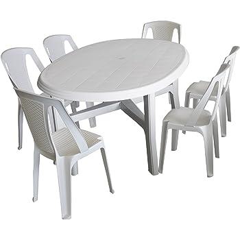 Balkonmöbel set weiß  Amazon.de: 7tlg. Gartenmöbel Set Kunststoff Weiß - Gartentisch ...