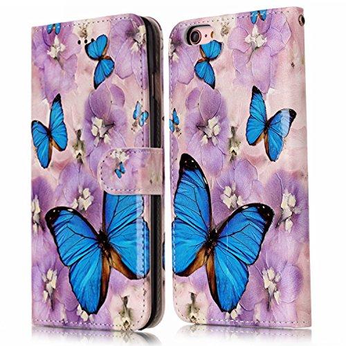 Cover iPhone 6 Plus Pelle, Custodia iPhone 6S Plus PU, Surakey Portafoglio Cover Custodia per Apple iPhone 6 Plus / 6S Plus, Fiore Orso Panda Gufo Lupo Modello Design Magnetico Snap-on Protettiva Bump Farfalla Blu