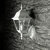 Aluguss Gartenlaterne matt-weiß/grau Wand- Außenleuchte Außenlampe