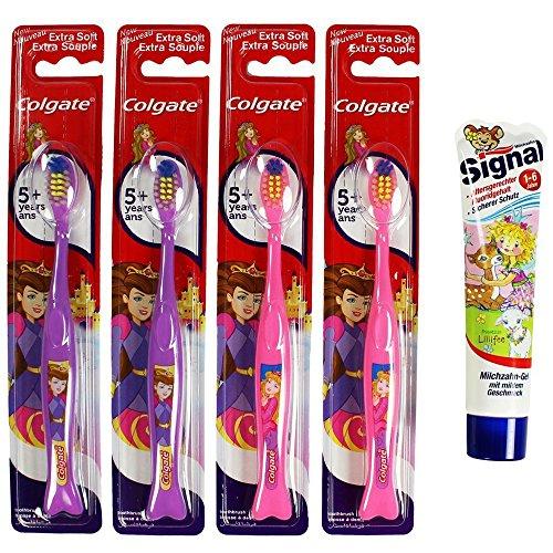 colgate-brosse-a-dents-manuelle-violet-rose-pour-fille-extra-soft-pour-enfant-lot-de-4-avec-motif-pr