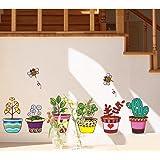 ufengke® Plantas en Macetas de Colores y Abejas Lindas Pegatinas de Pared, Sala de Estar Dormitorio Removible Etiquetas de la