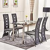 ospi® 4x schwarz Esszimmerstuhl mit hoher Rückenlehne Kunstleder Stühle mit rechteckig, gehärtetem Glas Esstisch Metall Beine Esszimmer Möbel Set