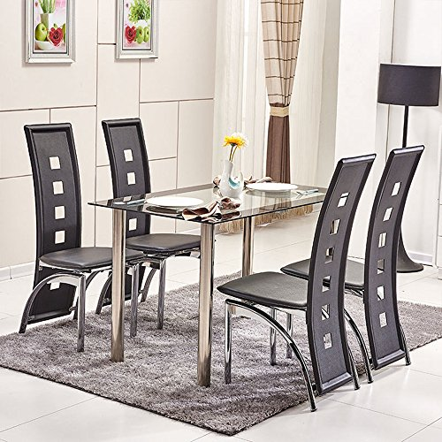 Ospi® 4x alte sedie da pranzo nere in similpelle, con tavolo da pranzo in gambe in metallo, rettangolare, in vetro temperato, set di mobili per sala da pranzo