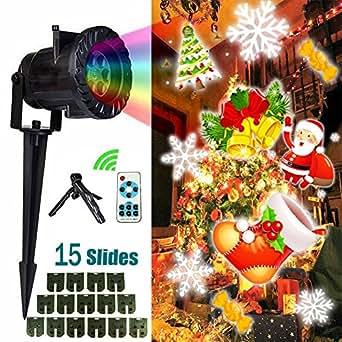 Proiettore luci natalizie, LUBAN LED Proiettore luci di natale, 15 Lenti Intercambiabili, Telecomando, IP65 Impermeabile Esterno/Interno per Halloween, Natale, San Valentino, Compleanno, Matrimonio