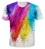 Loveternal Unisex Colorful Doodle Tee Shirt 3D Pattern Printed Casual Short Sleeve Tops Tees White S