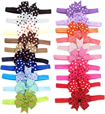 BESTVECH Soft Comfortable Elastic Baby Girls Dot Printed Bowknot Headband - Pack of 20