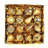 Simmia Home Christbaum Anhänger/Christbaumschmuck/Weihnachtskugeln/Weihnachtsbaumschmuck Weihnachtskugeln geformt Kugel Set hell Glitter gemischt Kugel hängenden Eimer 16 Karat, Gold