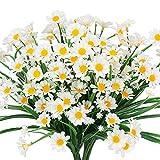 HZAMING Lot de 4 Fleurs artificielles en Forme de Marguerite pour extérieur, Blanc, Lot de 4