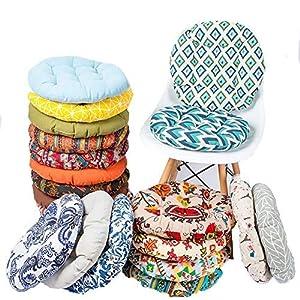 Wateralone Runder StuhlKissen Baumwolle Leinen Sitzkissen, Bunte Gartenstuhl Kissen einfache Tatami-Matte, für Esszimmer Garten Küche Stuhl Büro Zufällige Farbe