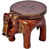 GREENTOUCH CRAFTS Designer Wooden Elephant Stool Handicraft (17.78 cm x 12.7 cm x 24.13 cm,)