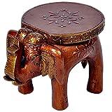 #10: eCraftIndia Wooden Elephant Stool for Decoratives