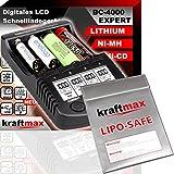 Original BC-4000 EXPERT Ladegerät + LIPOSAFE Akku Schutztasche für 18650 Akkus und Lithium Batterien - SET mit Ladestation und Lipo Safe Aufbewahrungstasche