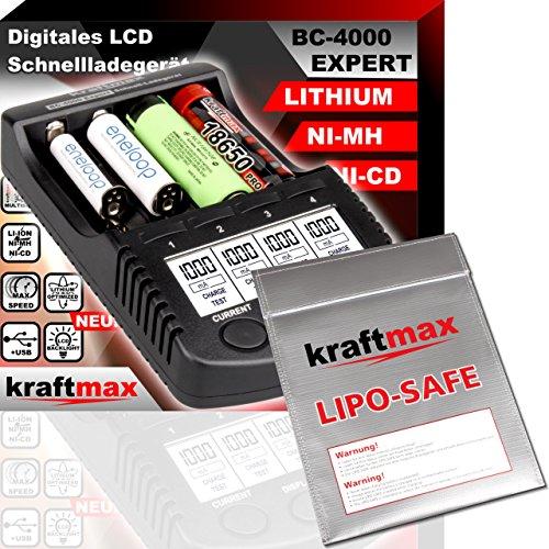 Original BC-4000 EXPERT Ladegerät + LIPOSAFE Akku Schutztasche für 18650 Akkus und Lithium Batterien - SET mit Ladestation und Lipo Safe Aufbewahrungstasche (Lipo-akku-ladestation)