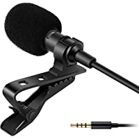 5 Feet Microphone Collar Mic, Omnidirectional Lavalier Condenser Microphone with 20ft Audio Cable (Black)