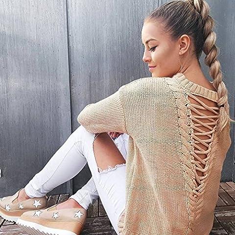 LnLyin Damen Lange Ärmel Pullover Zurück Hohle Haare Herbst und Winter Pullover (Zurück Pullover)