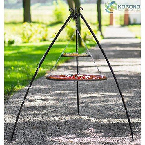 KORONO Double Grill en Acier Inoxydable sur trépied – H 200 cm - 40-80 cm