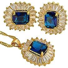 Collar Corte Esmeralda pendientes pendientes de la piedra preciosa del GP 18K Conjunto de joyas
