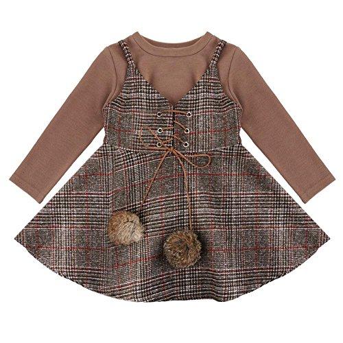 Domybest Mädchen britischen Stil Outfits Langarm T-shirt + Hosenträger Rock (2-3 t) -