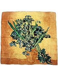"""Nella-Mode SEIDENTUCH Seidenschal nach van Gogh: """"Iris"""" Schal Tuch 100% Seide Kunstdruck 85x85 cm"""