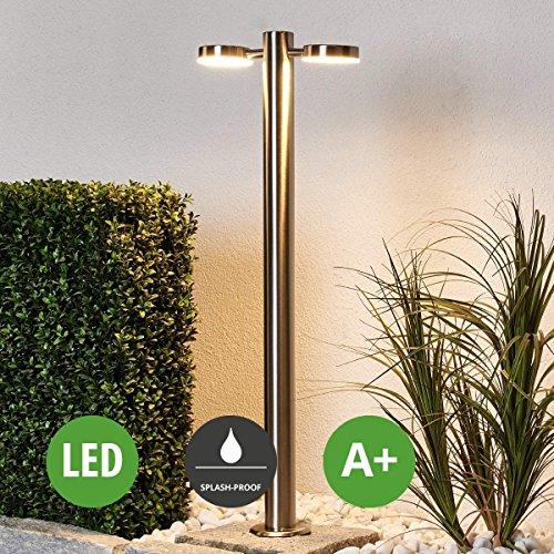 """Lampenwelt LED Außenleuchte\""""Toriba\"""" (spritzwassergeschützt) (Modern) in Alu aus Edelstahl (2 flammig, A+, inkl. Leuchtmittel)   Wegeleuchte, Pollerleuchte, Wegelampe, Sockelleuchte"""